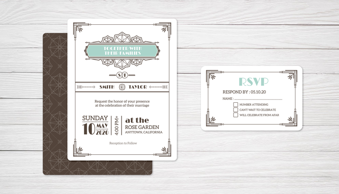 GotPrint Art Deco Wedding Invitations